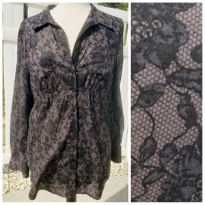 100%cotton Black gray faux black floral rose lace
